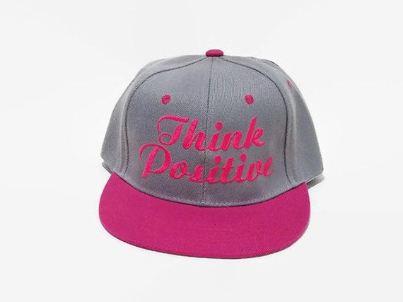 Embroidered Baseball Cap, Embroidered Hat, Custom Embroidery Hat, Baseball  Hats, Think Positive, Snapback, Trumblr Hats, Gray Hat, Pink Hat
