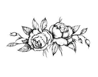 Black Vintage Rose Tattoo (Set of 2) - Floral Temporary Tattoo - Gift Under 5 - Gift for Her - Music Festival Accessories