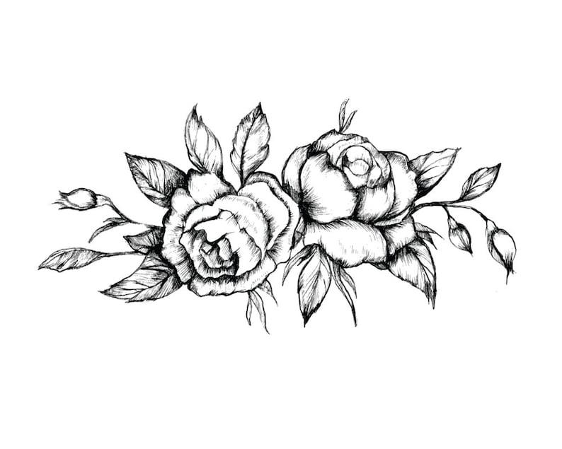 4092209c8 Black Vintage Rose Tattoo Set of 2 Floral Temporary Tattoo | Etsy