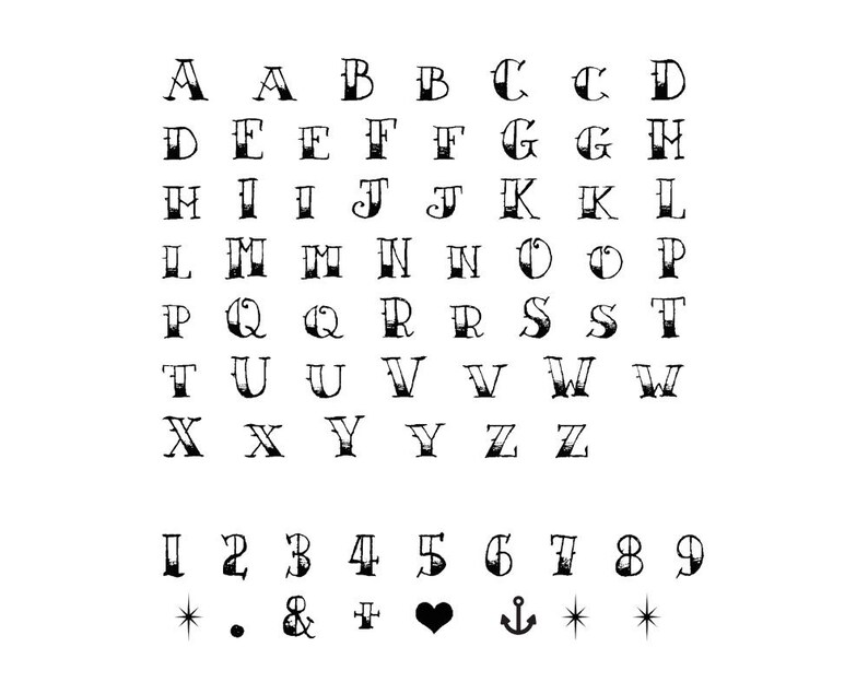 Sailor Jerry Temporary Alphabet Tattoo Set of 2 Vintage   Etsy