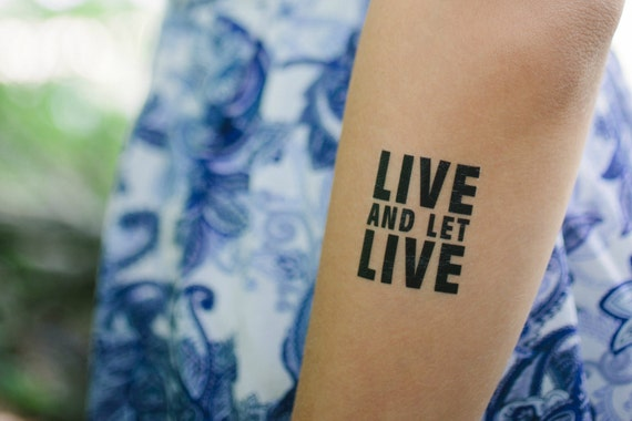 Recovery Gift Live And Let Live Temporary Tattoo Set 12 Etsy