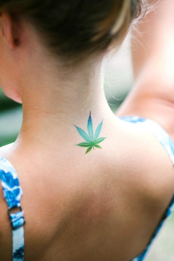 Tatouage Temporaire De Feuille Cannabis Aquarelle La Etsy