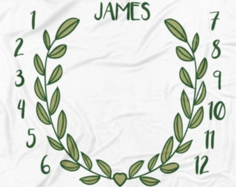 Monthly Milestone blanket with Name - Green Wreath, Personalized baby blanket, baby shower gift, custom blanket