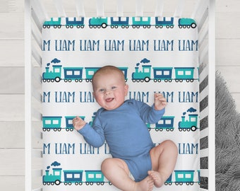 Personalized Train Crib Sheet - Design your own crib sheet - Made by moms in USA