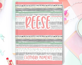 Personalized Journal Notebook - Hardcover - Custom -Coral Aztec - Boho print