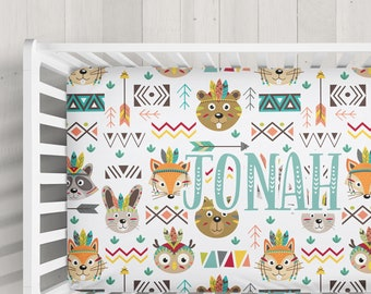 Personalized Crib Sheet - Tribal Animals - Design your own crib sheet - Made by moms in USA