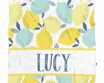Personalized baby blanket with lemons