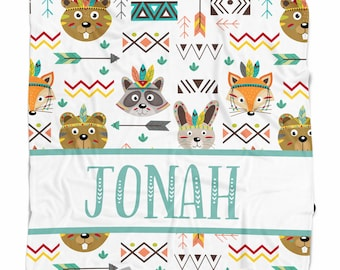 Personalized baby blanket with tribal animals, Woodland Nursery decor, Baby Shower Gift