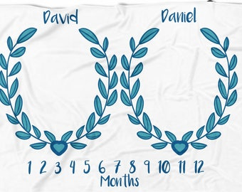 Twins Milestone blanket , Monthly blanket, Personalized Baby boy Blanket, Baby blanket,  swaddle blanket, Custom Blanket, Watch me grow