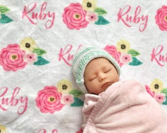 Personalized baby blanket, Spring Floral Custom name blanket, blanket with name