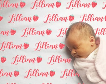 Personalized baby blanket with Strawberries