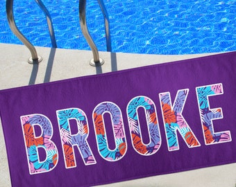 Personalized Beach Towel, Beach Blanket, Personalized Towel, Monogrammed Towel, large name towel