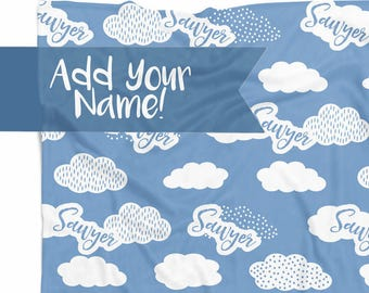 Personalized Baby Blanket with Clouds, Nursery Decor, Baby Shower Gift