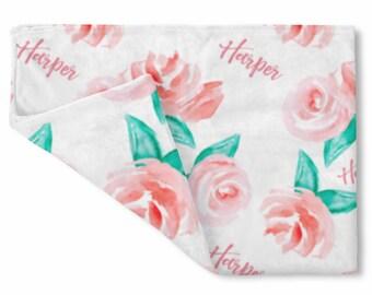 Personalized Baby Girl Name Blanket, Floral watercolor print pink, custom name blanket