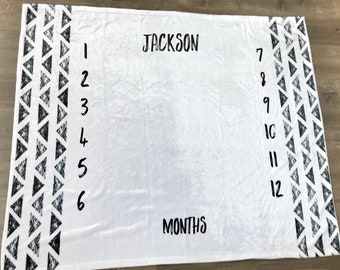 Monthly Milestone Blanket with Triangles, Modern Personalized Baby Blanket