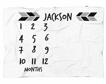 Milestone blanket with arrows, black and white, Monthly blanket, Personalized Baby Blanket, Custom Blanket, Watch me grow