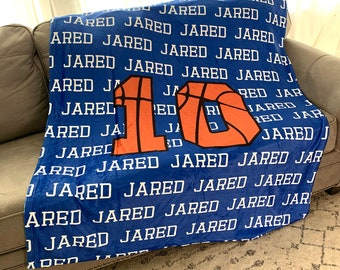 Personalized Basketball Blanket with Name, Sports gift, sports blanket, stadium blanket