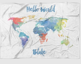 Hello World Map baby blanket