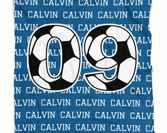 Soccer blanket with name and numbers