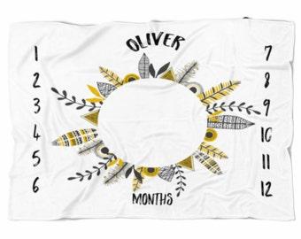 Milestone blanket, Monthly blanket, Personalized Baby Blanket, Baby blanket,  swaddle blanket, Custom Blanket, Watch me grow