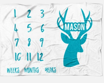 Monthly baby blanket with Deer Antlers, pick your color