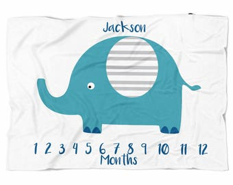 Sweet Elephant Monthly Milestone Blanket