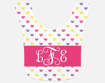 Personalized baby bib with hearts, custom bib with monogram