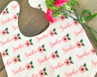 Personalized baby bib Coral Flowers, custom bib with name, baby girl bib, baby shower gift