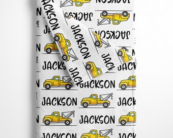 Personalized Baby Blanket with Tow Truck