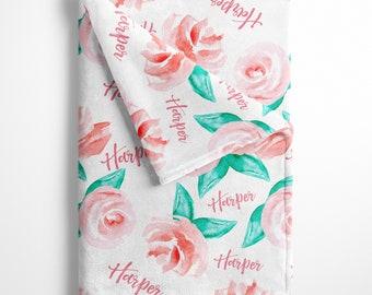SALE Personalized Baby Girl Name Blanket, Floral watercolor print pink, custom name blanket