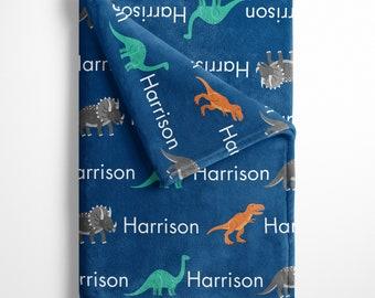 Personalized Dinosaur Baby Blanket, Name Blanket, Personalized Baby Blanket with dinosaurs, Top Knot hat, Swaddle Blanket