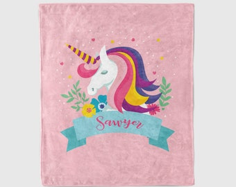 Unicorn Blanket with Large Name - Personalized kids blanket for girls