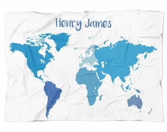 World Map Baby Blanket - Oh The Places You Will Go - Personalized Baby Blanket