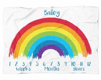Rainbow Monthly Milestone Blanket