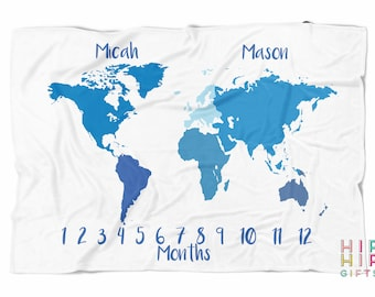 Milestone blanket for Twins with World Map in Blue