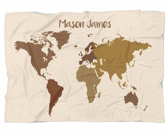 World Map Baby Blanket in Browns- Oh The Places You Will Go - Personalized Baby Blanket