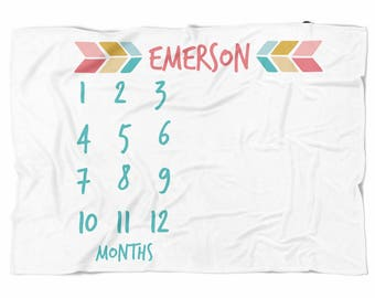 Milestone blanket with colorful arrows, mint and coral, Monthly blanket, Personalized Baby Blanket, Custom Blanket, Watch me grow