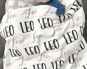 Black and White baby blanket, Personalized Blanket -Monogram Baby Blanket