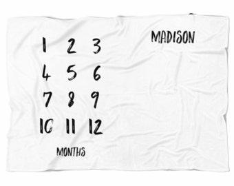 Monthly Baby blanket, personalized baby blanket, newborn photo prop