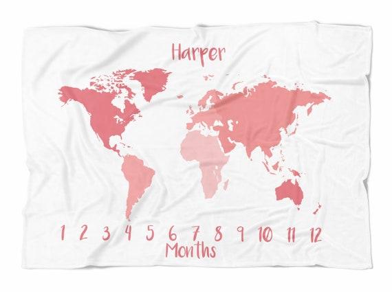 Map milestone blanket pink world map personalized monthly etsy image 0 gumiabroncs Images