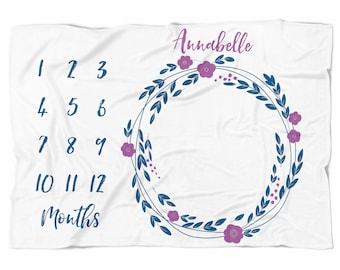 Monthly Milestone Baby blanket, Purple Floral