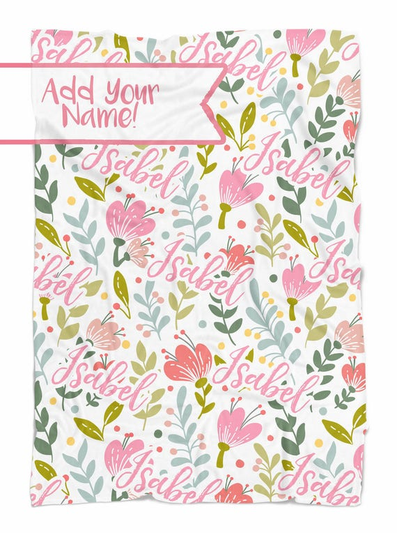 Spring flowers personalized baby blanket with name etsy image 0 mightylinksfo