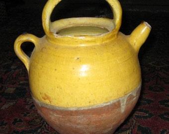 French Antique Glazed Cruche L'Eau or Water Jug