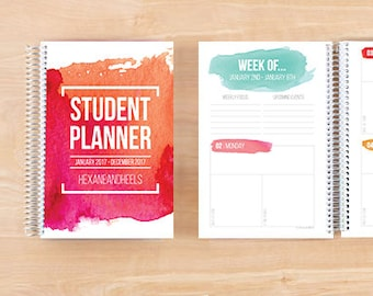 2017-2018 Printable Digital Student Planner – Half Letter – Digital Download
