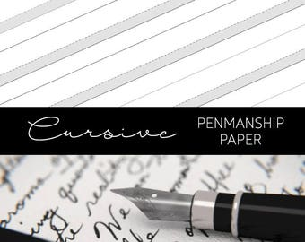 Tall-Ruled Printable Penmanship Cursive Handwriting Improvement Practice Paper