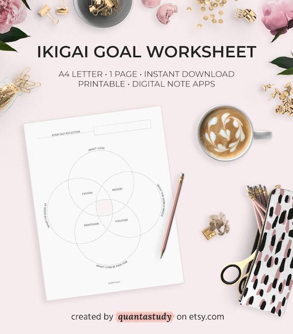 Finding Your Ikigai Printable Worksheet Goal Job Post-Grad Career Planning  Planner Minimalist Minimal Digital Download