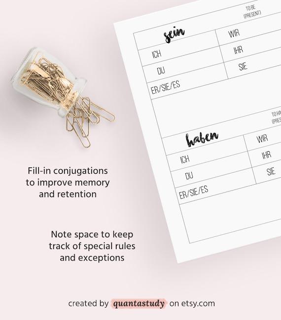 A1 A2 German Verb Conjugation Printable Packet — PDF Worksheet Download  Foreign Language Deutsch