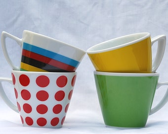Set of 4 Cappuccino-sized Cups - Jersey Set