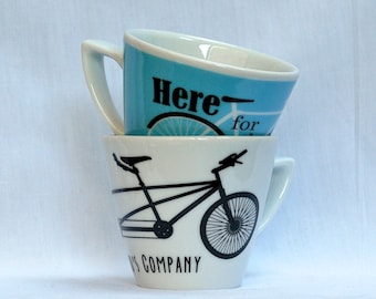 Set of 2 Cappuccino-sized Cups: Tandem and Here for the Ride