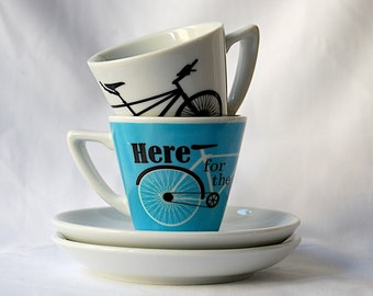 Set of 2 Espresso Cups and Saucers - Here for the Ride and Tandem